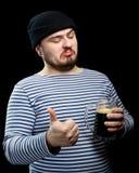 Mann mit Bier Stockfoto