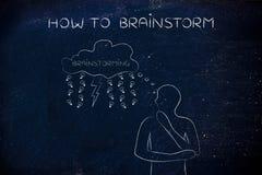 Mann mit Blitzbolzen u. Regen von Ideen auf Gedankenblase, Gehirn Stockbilder