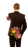 Mann mit Blumen stockfotos