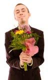 Mann mit Blumen stockfoto