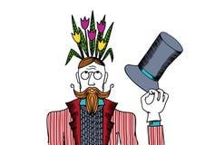 Mann mit Blumen auf ihrem Kopf in den Farben Lizenzfreie Stockbilder