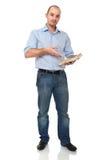 Mann mit Buch Stockfotografie