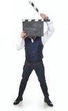 Mann mit clapperboard lizenzfreie stockfotos