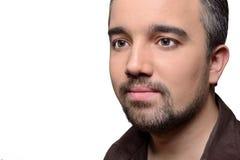 Mann mit dem Bart lokalisiert auf Weiß Stockfotos