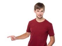 Mann mit dem Finger unterstreichen Stockfotografie
