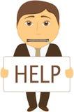 Mann mit dem Mund, der mit einem Reißverschluss geschlossen wird, bittet um Hilfe Lizenzfreie Stockbilder