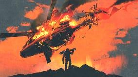 Mann mit dem Raketenwerfer, der brennenden fallenden Hubschrauber schaut Lizenzfreie Stockfotografie