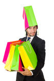 Mann mit den Einkaufstaschen lokalisiert Lizenzfreie Stockfotos