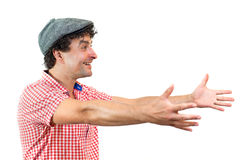 Mann mit den geöffneten Armen Stockbild