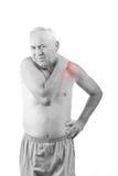 Mann mit den Stutzenschmerz Stockfoto