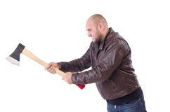 Mann mit der Axt lokalisiert Lizenzfreies Stockfoto
