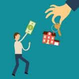 Mann mit der Rechnung läuft in der Hand zur Handholding Lizenzfreie Stockfotos