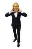 Mann mit der Theatermaske lokalisiert auf Weiß Stockbilder