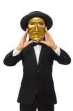 Mann mit der Theatermaske lokalisiert auf Weiß Stockfotografie