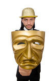 Mann mit der Theatermaske lokalisiert auf Weiß Lizenzfreies Stockfoto
