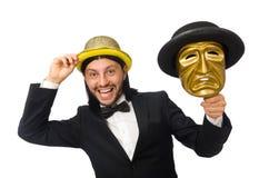 Mann mit der Theatermaske lokalisiert auf Weiß Lizenzfreie Stockfotografie