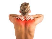 Mann mit der Verletzung von Schultern und von Rückenproblemen lizenzfreie stockfotografie