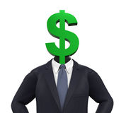 Mann mit Dollar-Symbol-Kopf vektor abbildung