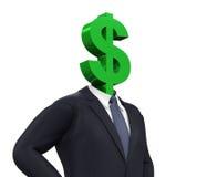 Mann mit Dollar-Symbol-Kopf lizenzfreie abbildung