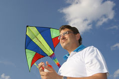 Mann mit Drachen Lizenzfreies Stockbild