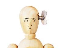 Mann mit Drehgriff in seinem Kopf Stockfotos