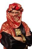 Mann mit einem arabischen Kostüm. Karneval Lizenzfreies Stockfoto