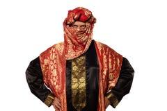 Mann mit einem arabischen Kostüm. Karneval stockfotografie