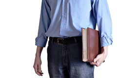 Mann mit einem Buch stockfotografie
