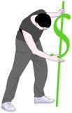 Mann mit einem Dollarzeichen, das sie in den Boden anbindet Lizenzfreie Stockfotos
