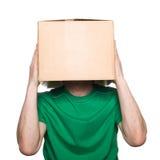 Mann mit einem Kasten Stockbilder
