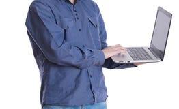 Mann mit einem Laptop Lizenzfreies Stockbild