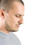 Mann mit einem leistungsfähigen Ausdruck der Konzentration lizenzfreies stockfoto