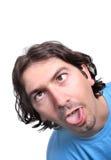 Mann mit einem lustigen Gesicht lizenzfreies stockfoto