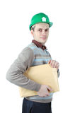 Mann mit einem Paket in seinen Händen Stockbild