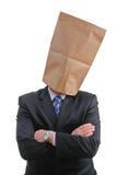 Mann mit einem Papierbeutel stockbilder