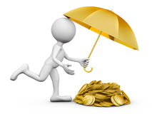 Mann mit einem Regenschirm und Münzen Stockfotos