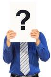 Mann mit einer Frage Stockbild