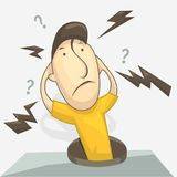 Mann mit einer Frage welches ` s, das weitergehen oder warum? Gesichter Vektorillustration in der Karikaturart Stockbilder