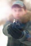 Mann mit einer Gewehr Stockfotos