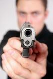 Mann mit einer Gewehr Stockbilder