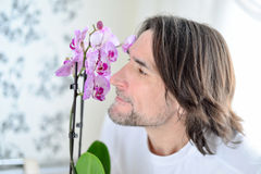 Mann mit einer rosa Orchidee im Raum Lizenzfreie Stockbilder