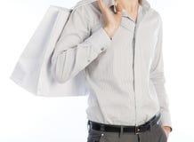 Mann mit Einkaufstasche über Weiß Stockfotografie