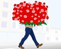 Mann mit enormem Blumenstrauß stock abbildung