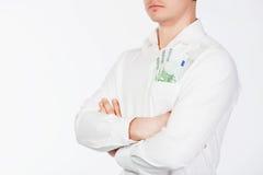 Mann mit Eurobargeld in der Tasche Lizenzfreie Stockfotos