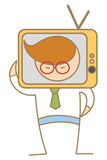 Mann mit Fernsehkopf Lizenzfreie Stockbilder
