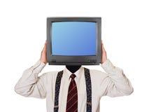 Mann mit Fernsehschirm für Kopf Stockbild