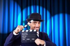 Mann mit Filmscharnierventil Stockfoto