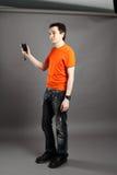 Mann mit flashmeter. Stockfoto
