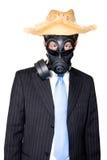 Mann mit gasmask Hut und Sonnenbrillen lizenzfreies stockfoto