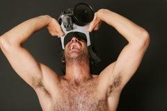 Mann mit Gasmaske Stockfotografie